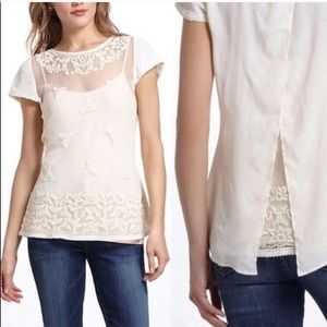 Anthropologie Maeve Tulle Embroidered Lace Blouse